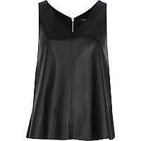 Black leather-look V neck top