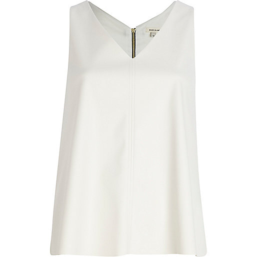 Cream leather-look V neck top