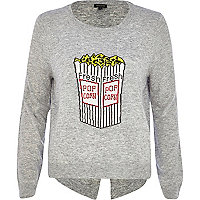 Grey popcorn split back jumper