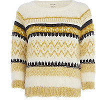 Cream fair isle knitted fluffy jumper