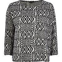 Black fairisle print boxy knitted top