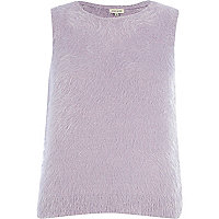 Lilac fluffy knitted top