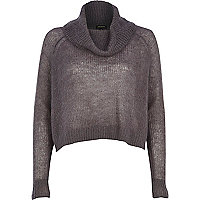 Dark grey mohair cowl neck knitted jumper