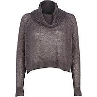 Dark grey mohair cowl neck knitted jumper