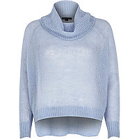 Blue mohair cowl neck knitted jumper