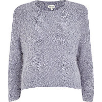 Lilac fluffy knit cropped jumper