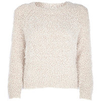 Cream fluffy knit cropped jumper