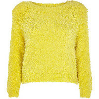Yellow fluffy knit cropped jumper