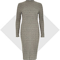 Grey turtle neck ribbed bodycon dress