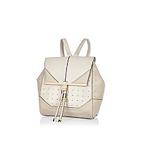 Grey studded leather-look backpack