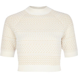 Cream textured knitted crop top