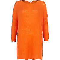 Orange mohair knit dress