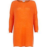 Orange mohair knit dress