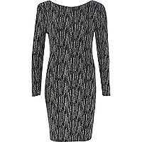 Black sparkle long sleeve bodycon dress