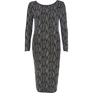 Black sparkle long sleeve midi dress