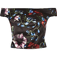 Black floral print structured crop bardot top