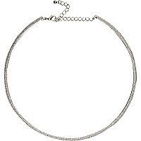 Silver tone skinny glitter necklace