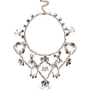 Gold tone gemstone statement short necklace