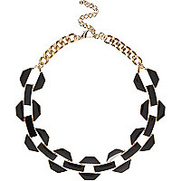 Black chunky enamel chain necklace
