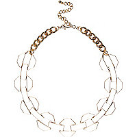 Cream chunky enamel chain necklace