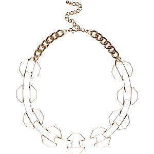 Cream chunky enamel chain necklace