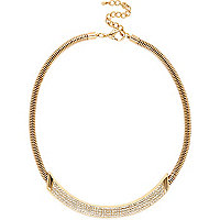 Gold tone diamante curved necklace