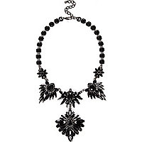 Silver tone black gemstone statement necklace