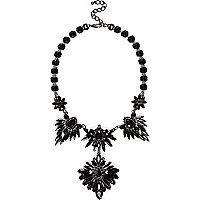 Silver tone black gemstone statement necklace