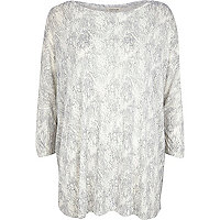 Light grey snake print oversized top
