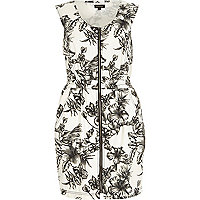 White denim floral print waisted dress