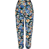 Black tapestry floral print joggers