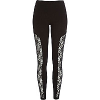 Black lace insert high waisted leggings