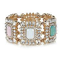 Gold tone pastel gemstone bracelet