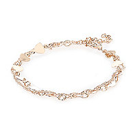 Gold tone double chain heart bracelet