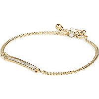 Gold tone glitter bar bracelet