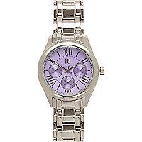 Silver tone lilac face bracelet watch