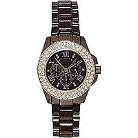 Grey gunmetal tone bracelet watch