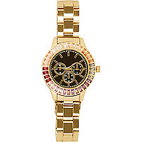 Gold tone multicoloured gemstone face watch