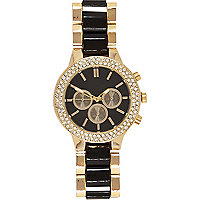 Gold tone black inset bracelet watch
