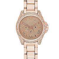 Rose gold tone diamante bracelet watch