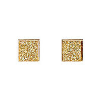 Gold glitter square stud earrings