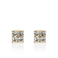 Gold tone diamante cluster stud earrings
