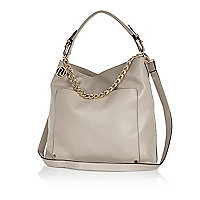 Grey chain trim slouch bag