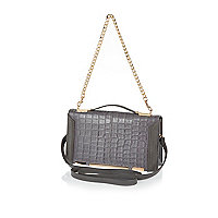 Grey croc chain strap shoulder bag