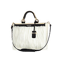Cream faux fur tote bag
