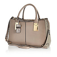 Grey snake contrast tote bag
