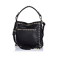 Black studded slouch bag