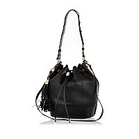 Black tassel trim duffle bag