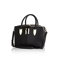 Black boxy bowler bag