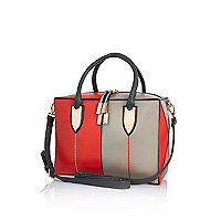 Red colour block boxy bowler bag